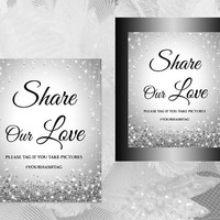 DIY Printable Wedding Hash Tag Sign Template | Editable MS Word file | 8 x 10 | Instant Download | Sparkly Silver Diamond Shower