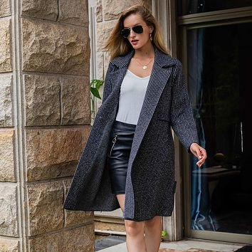 Fashion women's knitted long thicken pocket lapel cardigan sweater coat