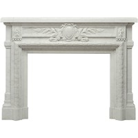 Antique French Louis XVI Fireplace Mantel in Carrara White Marble