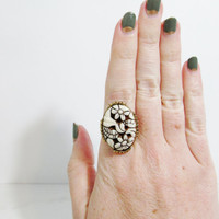 Vintage Ring: Vogue Cream Carved Flowers, Adjustable