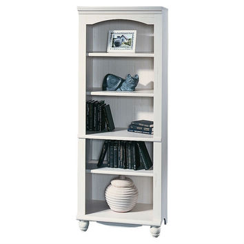 Elegant Display Shelf Bookcase with 5 Shelves in Antiqued White Wood Finish