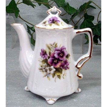 Antique Footed Pansy Porcelain Teapot