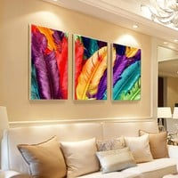 3PCS No Frame Modern Colorful Feather Wall Painting Landscape Canvas Painting Cuadros Home Decor Wall Pictures For Living Room
