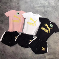 """ PUMA ""  Top Tee Leisure Sports Pants Sweatpants Two-Piece - Gold Logo"