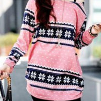 Floral Print Loose-Fitting Fashionable Scoop Collar Long Sleeve T-Shirt