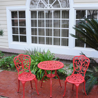 Michael Anthony Furniture Red Daisy Cast Aluminum Outdoor 3-Piece Bistro Set