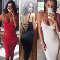 Sexy Women Plunge Deep V Neck Bandage Lace Up Back Backless Pencil Bodycon Sheath Cami Dress 2015 New Vestido