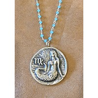"""Sterling Mermaid, """"M"""" (Virgo?) Pendant Necklace with Chalcedony wire wrap chain"""