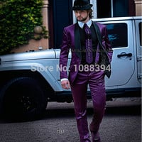 New Arrival Handsome Custom Made Satin Purple Suits For Men Groom Tuxedos Men Wedding Suits Costume Homme (Jacket+Pants+Tie)