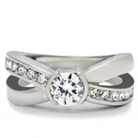 First Love - FINAL SALE .46 CT. Equivalent Cubic Zirconia Center Stone Open Style Ring