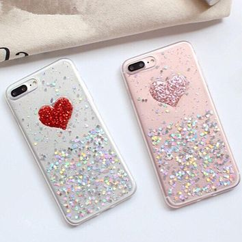 3D Sparkle Heart Design Case for iPhone 8, 8lus, 7, 7Plus and iPhone 6