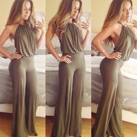 Olive Green Halter Backless Jumpsuit
