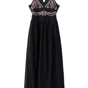 Black V-neck Folk Embroidery Cut Out Back Split Side Maxi Dress