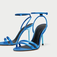 SATIN HIGH-HEEL SANDALS DETAILS