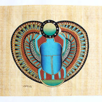 Scarab | Ancient Egyptian Papyrus Painting