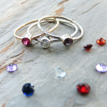 Sterling Silver - Choose Your Gemstone: Silver Bezel Set Birthstone or Mother's Stacking Ring, Hammered or Smooth Finish - 3mm Faceted Stone
