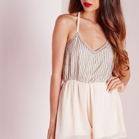 Missguided - Strappy Embellished Playsuit Nude