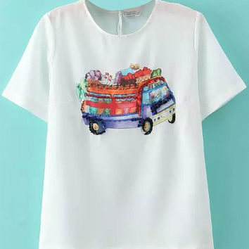 White Sequined Beaded Car Printed T-Shirt