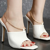 Hot style tilehead fish mouth chain high heels shoes
