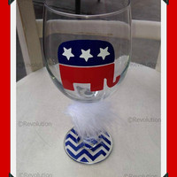 GOP, Republican, Preppy Republican, Wine Glass, candidate gift, republican candidate, red state, custom, personalized, right wing