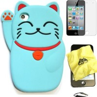 Bukit Cell ® BABY BLUE 3D CUTE LUCKY CAT Soft Silicone Skin Case Cover for iPod Touch 4 4G 4th Generation + BUKIT CELL Trademark Lint Cleaning Cloth + Screen Protector + METALLIC Touch Screen STYLUS PEN with Anti Dust Plug [bundle - 4 items: case, cloth, s