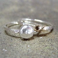 14K Gold Nuggets and Sterling Silver Stacking Rings by asecondtime