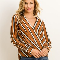 Laurel Camel Stripe Nursing Friendly Blouse