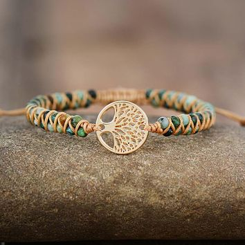 Tree Charm Bracelets African Japser String Braided Bracelets Yoga Friendship Lover Bracelet
