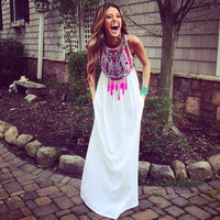 Totem Print Sleeveless Chiffon Maxi Dress