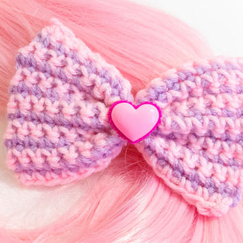 Pink and Lavender Striped with Pink Heart Crochet Hair Bow