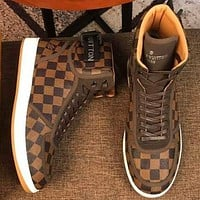 LV Louis Vuitton Men Leather High Top Sneakers Shoes