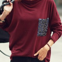 Burgundy Patchwork Sequin Pocket Band Collar Long Sleeve Casual T-shirt