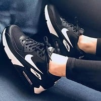 Bunchsun NIKE Air Max 90 Classic Women Men Casual Sport Running Sneakers Shoes Black&White