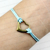 Light blue hearts and love the bracelet, wax rope, personalized friendship bracelets