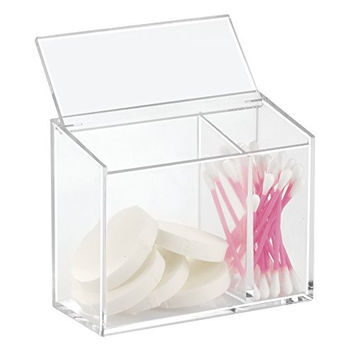mDesign Cosmetic Organizer Box with Lid for Vanity Cabinet to Hold Makeup, Beauty Products - 2 Compartments, Clear