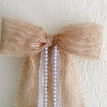 Burlap Lace Pearls Pew Bow, Rustic Burlap Bow, Country Burlap Bow, Vintage Wedding Pew Bow,Bridal Shower Bow,  Door Decoration