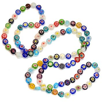 Italian Millefiori Glass Flower Hand Knotted Necklace
