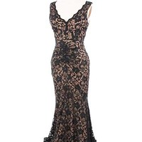 Ruched Black Lace Nude Jersey Evening Gown