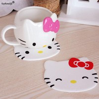 Keythemelife1PC Hello Kitty Silicone Dining Table Placemat Coaster Kitchen Accessories Mat Cup Bar Mug Drink Pads Table Decor 5D