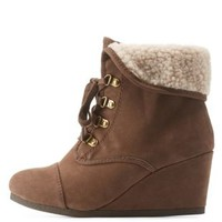 Brown Shearling-Cuffed Wedge Booties by Charlotte Russe