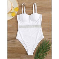 Contrast Mesh Underwired One Piece Swimsuit