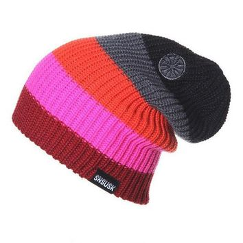 CREYU3C Hot Man Women Spring Autumn Winter Knit Beanies Ski Crochet Slouch Hat Cap Striped Color Bonnet Hats  Colorful Drop Shipping S54