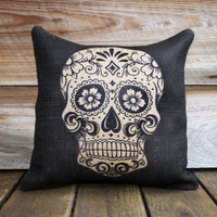 Sugar Skull Burlap Pillow Cover, Day of the Dead, Dia de los Muertos, Black, Biege,16x16