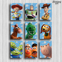 toy story print set of 9 toy story room poster disney decor toy story party