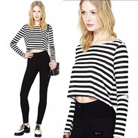 Women Summer Spring Long Sleeved Round Neck Striped Loose Crop Top T-shirt  Casual Blosue S-XL = 5618492097
