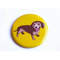 Dachshund Dog Magnet, Pin, or Mirror