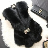 real fox fur vest 100% genuine natural fox fur sleeveless jacket A016