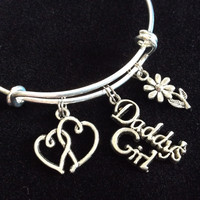 Daddy's Girl Bracelet Silver Expandable Adjustable Wire Bangle Charm Bracelet Trendy Kid's Size Available