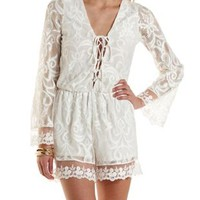 Ivory Lace-Up Mixed Lace Romper by Charlotte Russe