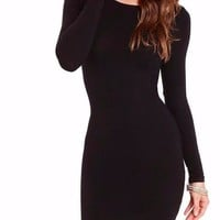 Women Sexy Long Sleeve Body Con Date Night Mini Dress